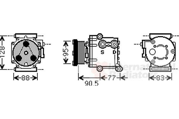 Compresseur, climatisation - VAN WEZEL - 1800K434
