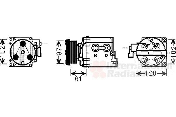 Compresseur, climatisation - VAN WEZEL - 1800K436