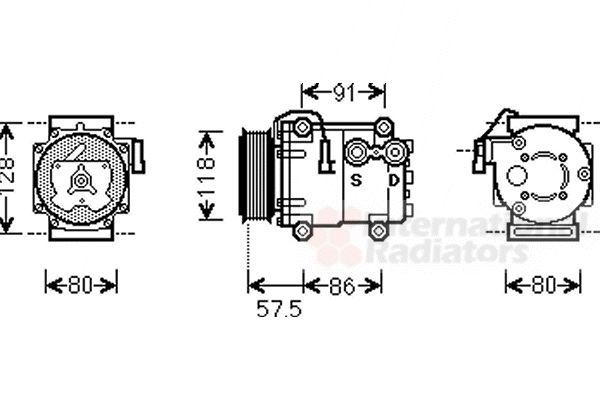 Compresseur, climatisation - VAN WEZEL - 1800K451