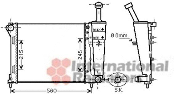 Radiateur, refroidissement du moteur - VAN WEZEL - 17002345