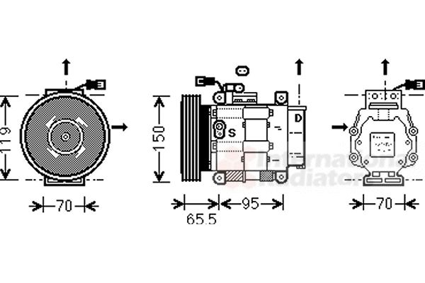 Compresseur, climatisation - VAN WEZEL - 1700K031