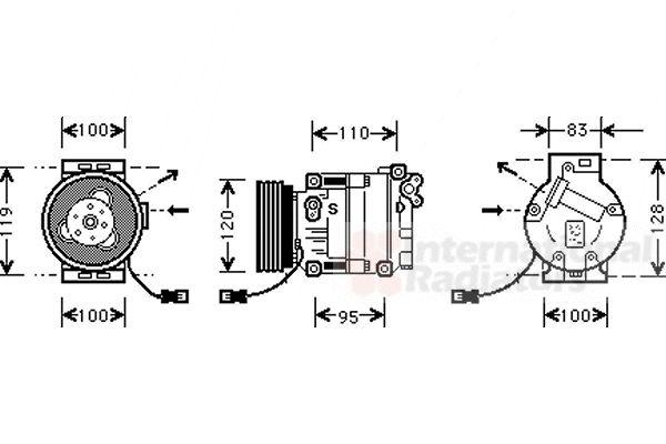 Compresseur, climatisation - VAN WEZEL - 1700K034