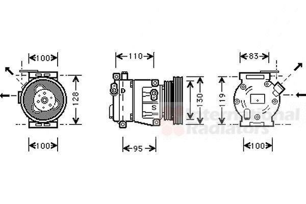 Compresseur, climatisation - VAN WEZEL - 1700K035