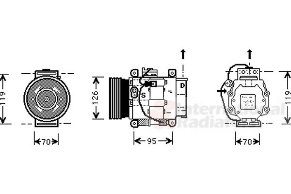 Compresseur, climatisation - VAN WEZEL - 1700K036