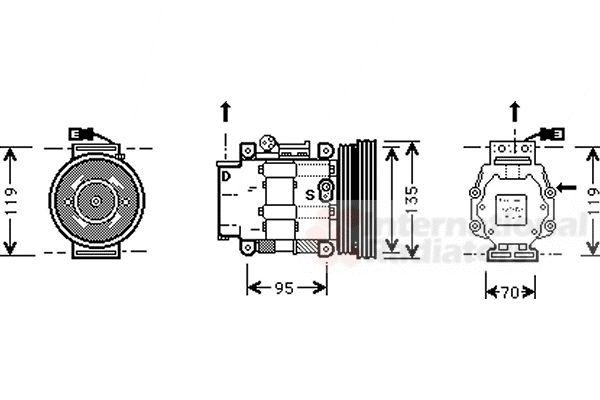 Compresseur, climatisation - VAN WEZEL - 1700K041