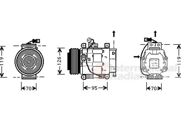 Compresseur, climatisation - VAN WEZEL - 1700K042