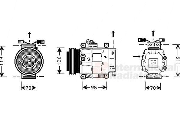 Compresseur, climatisation - VAN WEZEL - 1700K049
