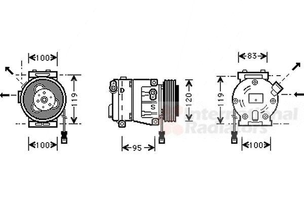 Compresseur, climatisation - VAN WEZEL - 1700K050