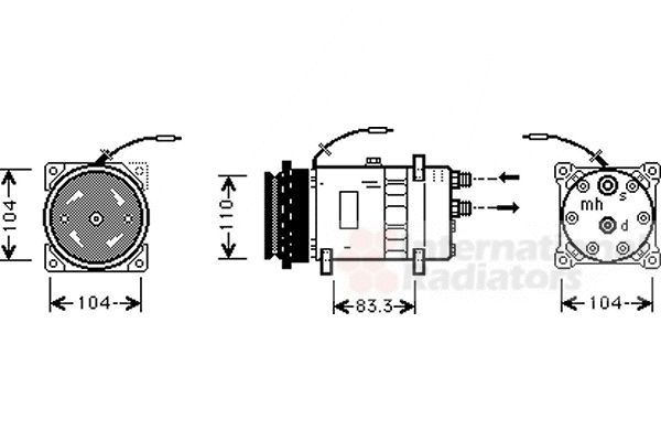 Compresseur, climatisation - VAN WEZEL - 1700K064