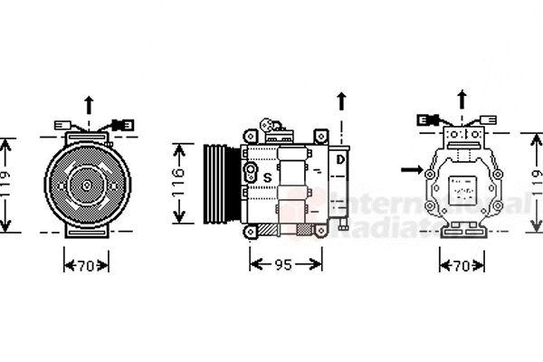 Compresseur, climatisation - VAN WEZEL - 1700K081