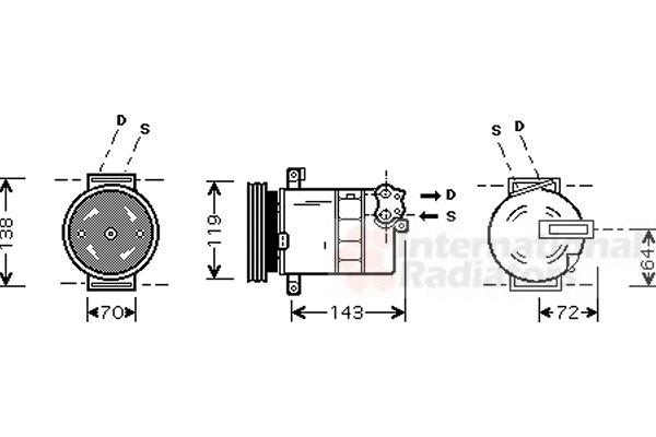 Compresseur, climatisation - VAN WEZEL - 1700K086