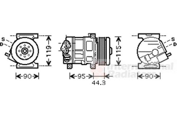 Compresseur, climatisation - VAN WEZEL - 1700K330
