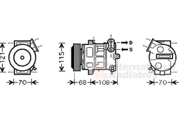 Compresseur, climatisation - VAN WEZEL - 1700K332
