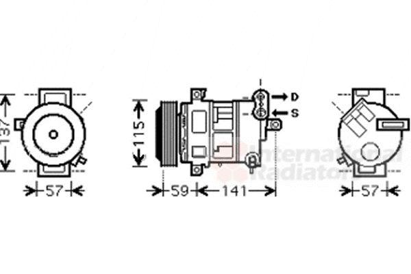 Compresseur, climatisation - VAN WEZEL - 1700K333
