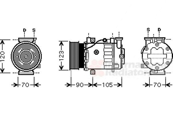 Compresseur, climatisation - VAN WEZEL - 1700K361