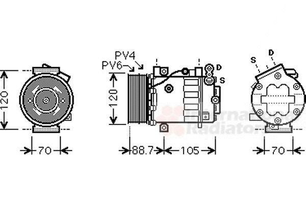 Compresseur, climatisation - VAN WEZEL - 1700K369