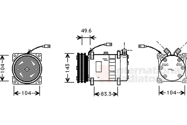 Compresseur, climatisation - VAN WEZEL - 1700K373