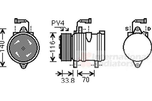 Compresseur, climatisation - VAN WEZEL - 1700K374