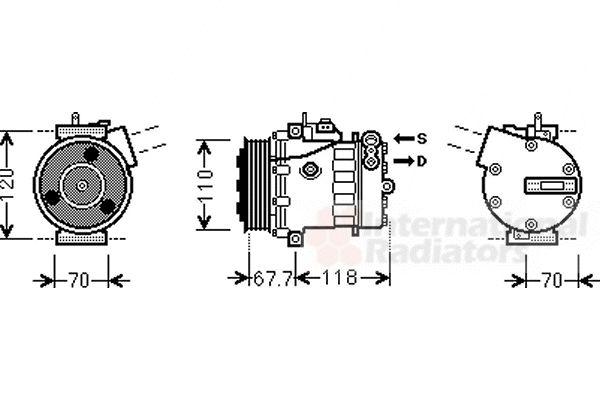 Compresseur, climatisation - VAN WEZEL - 1700K384