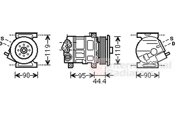 Compresseur, climatisation - VAN WEZEL - 1700K394