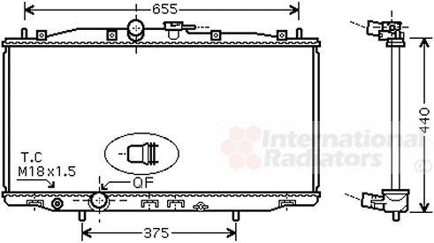 Radiateur, refroidissement du moteur - VAN WEZEL - 25002170