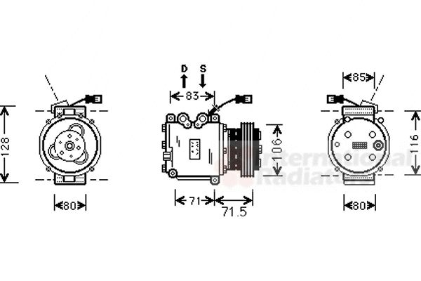 Compresseur, climatisation - VAN WEZEL - 2500K009