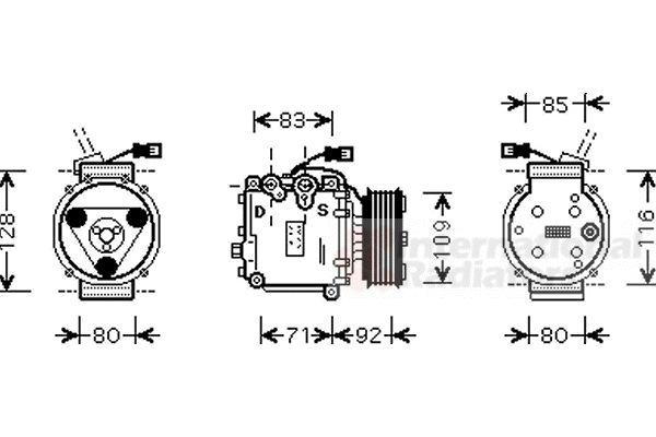 Compresseur, climatisation - VAN WEZEL - 2500K169