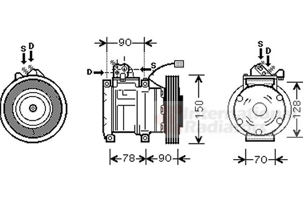 Compresseur, climatisation - VAN WEZEL - 2500K181
