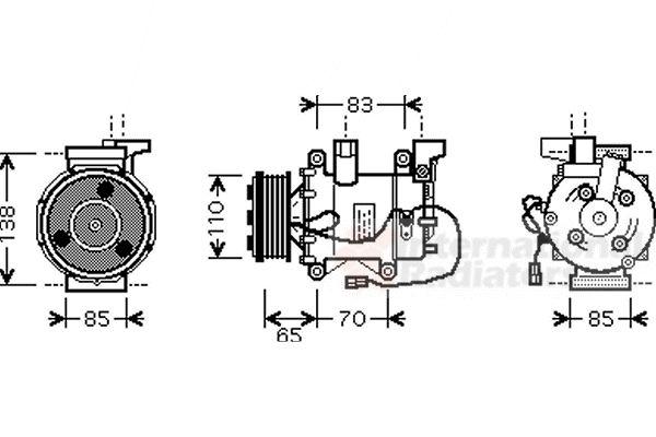 Compresseur, climatisation - VAN WEZEL - 2500K207