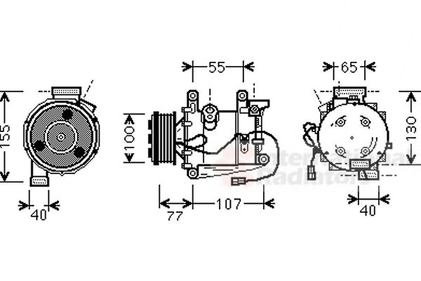 Compresseur, climatisation - VAN WEZEL - 2500K232
