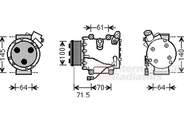 Compresseur, climatisation - VAN WEZEL - 2500K235