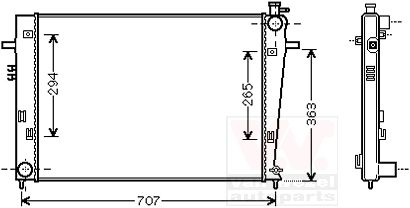 Radiateur, refroidissement du moteur - VAN WEZEL - 82002204