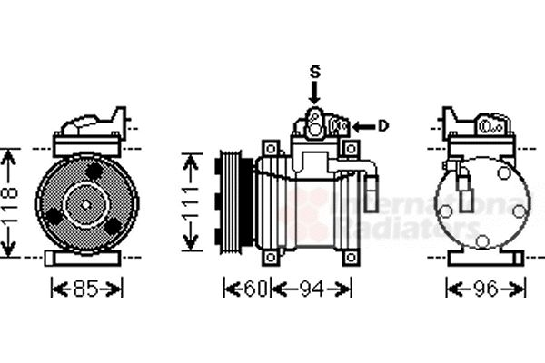 Compresseur, climatisation - VAN WEZEL - 8200K217