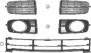 Grille de ventilation, pare-chocs - VWA - 88VWA0217593