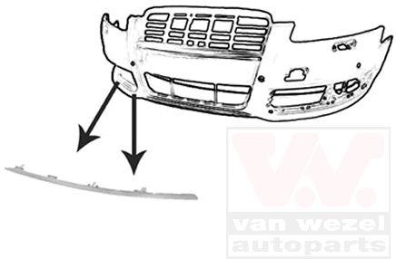 Baguette et bande protectrice, pare-chocs - VWA - 88VWA0340582