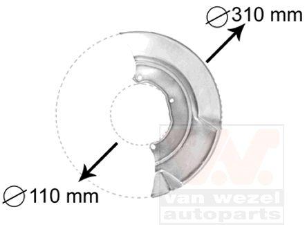 Déflecteur, disque de frein - VAN WEZEL - 5874371
