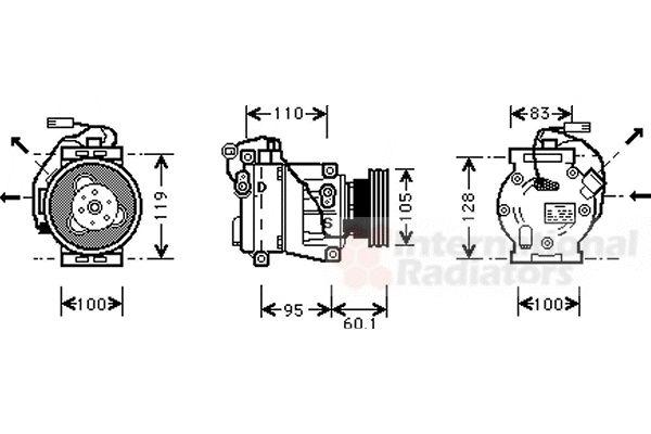 Compresseur, climatisation - VAN WEZEL - 2800K064