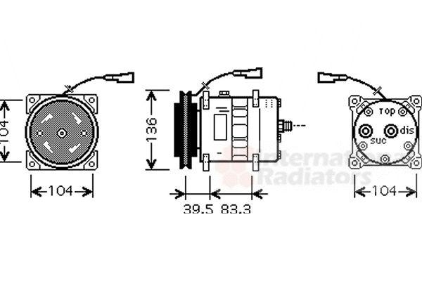 Compresseur, climatisation - VAN WEZEL - 2800K093
