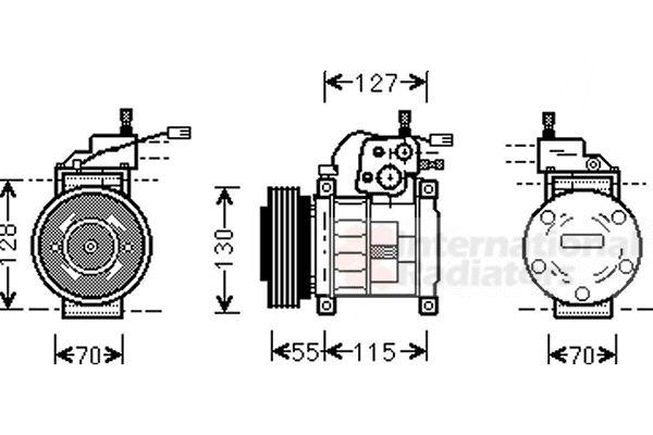 Compresseur, climatisation - VAN WEZEL - 2100K032