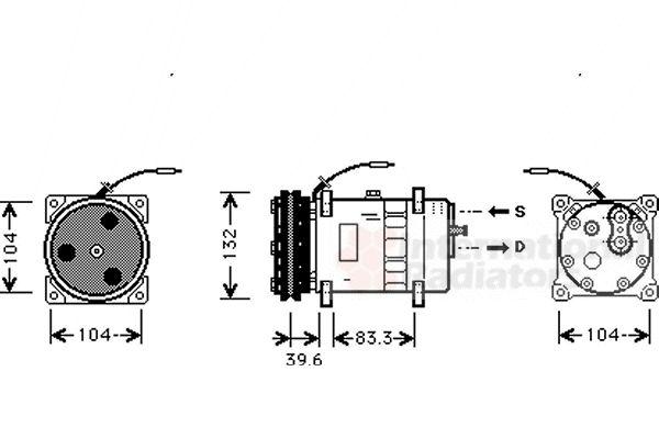 Compresseur, climatisation - VAN WEZEL - 7700K024