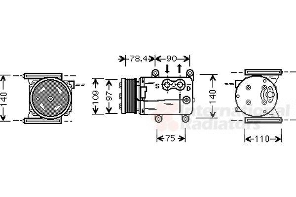 Compresseur, climatisation - VAN WEZEL - 7700K025