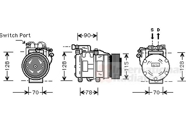 Compresseur, climatisation - VAN WEZEL - 7700K030