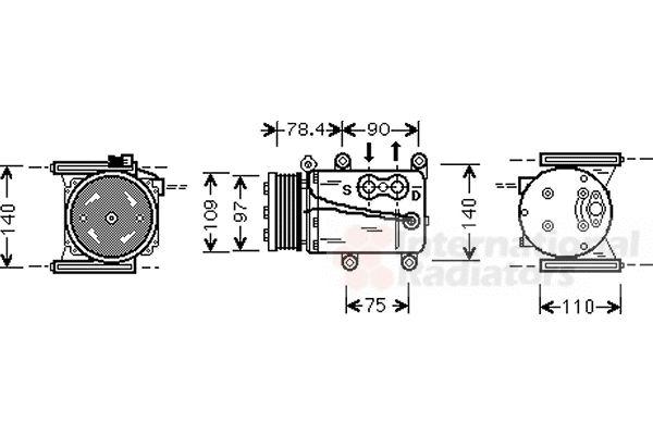 Compresseur, climatisation - VAN WEZEL - 7700K034