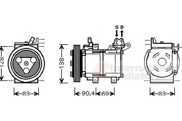 Compresseur, climatisation - VAN WEZEL - 8300K051