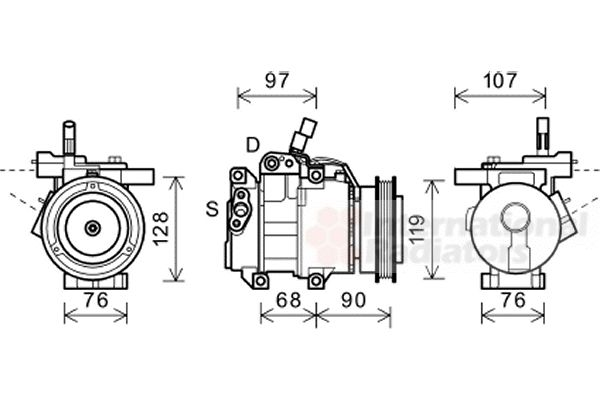 Compresseur, climatisation - VAN WEZEL - 8300K161