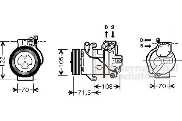 Compresseur, climatisation - VAN WEZEL - 2900K008