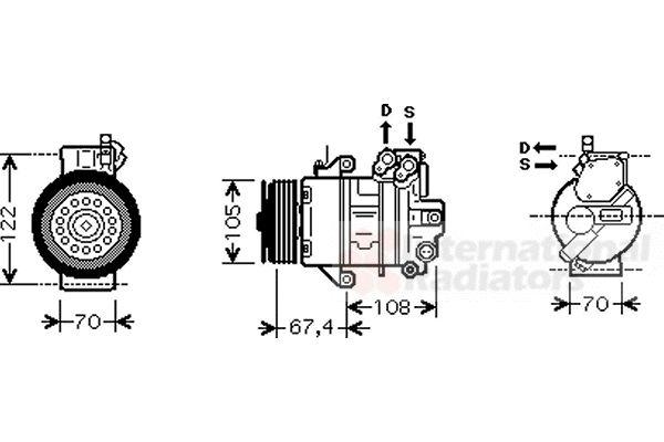 Compresseur, climatisation - VAN WEZEL - 2900K009