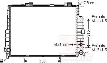 Radiateur, refroidissement du moteur - VAN WEZEL - 30002304