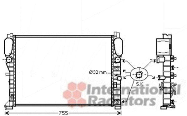 Radiateur, refroidissement du moteur - VAN WEZEL - 30002394