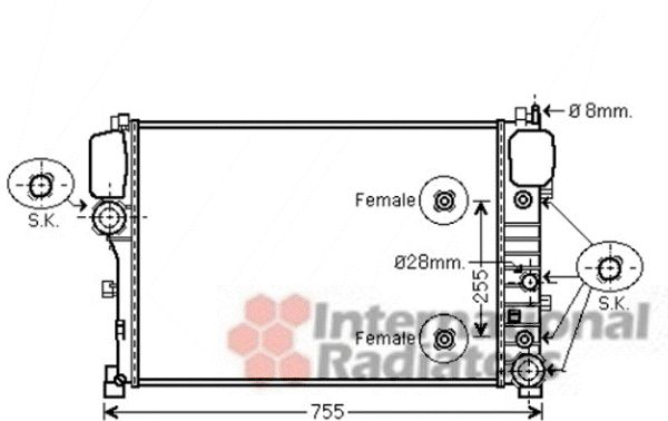 Radiateur, refroidissement du moteur - VAN WEZEL - 30002469